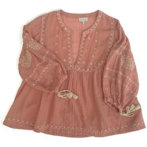 Lucky Brand Boho Top Embroidered  Flowy Size Large